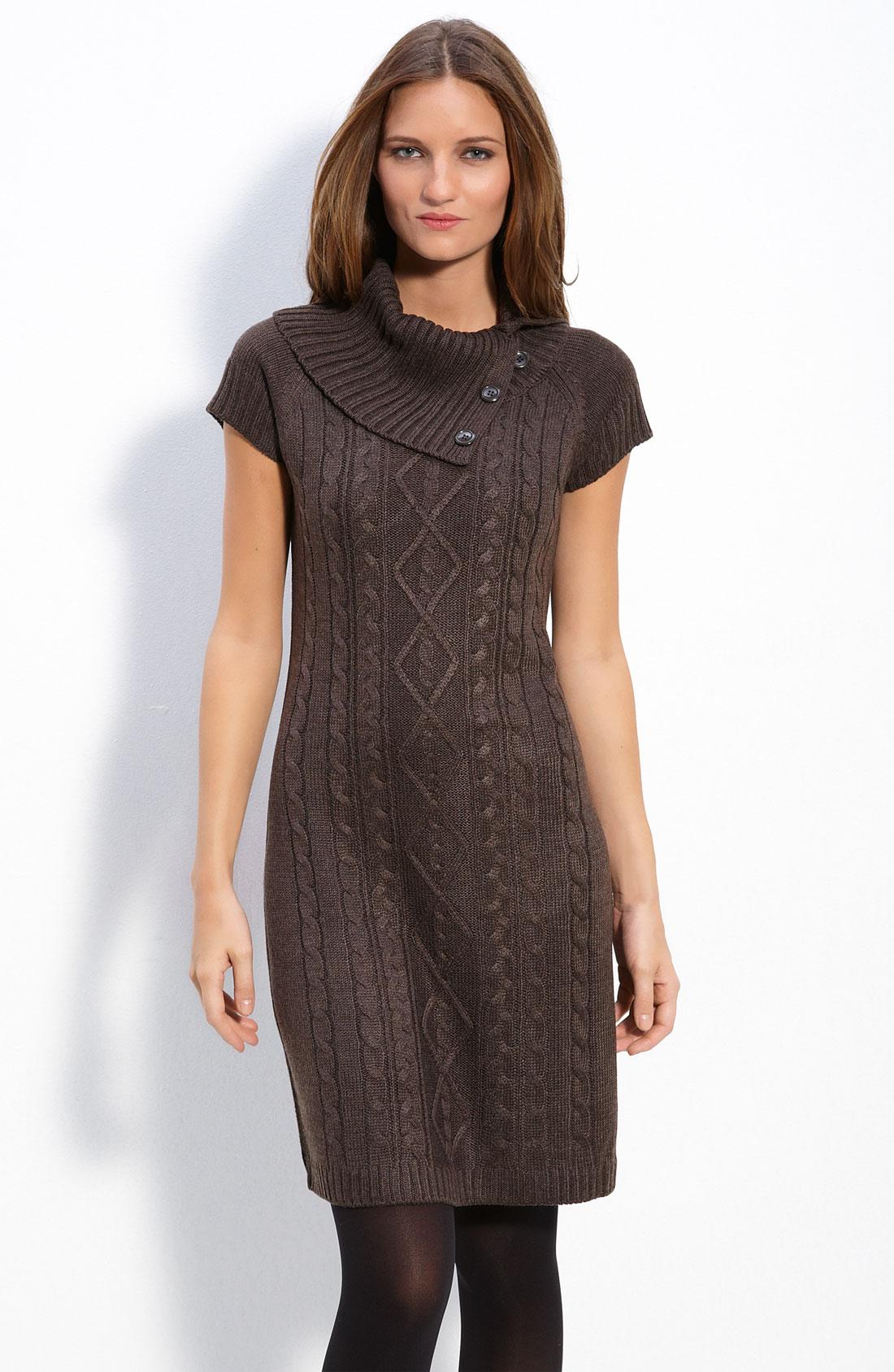 calvin klein foldover collar sweater dress in brown. Black Bedroom Furniture Sets. Home Design Ideas
