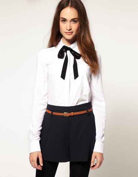 River Island Bow Tie Shirt In White Lyst