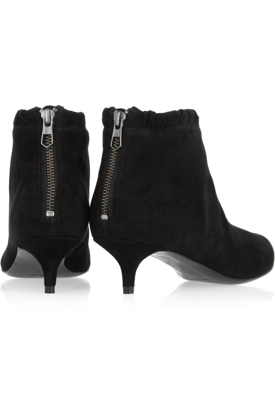 9c0d5042a1b Sigerson Morrison Black Suede Kitten Heel Ankle Boots
