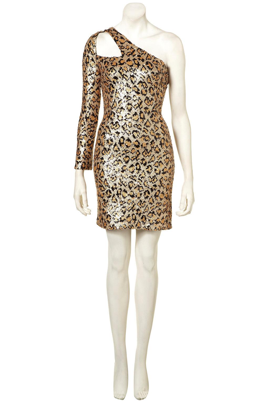 671c811b22 Lyst - TOPSHOP Leopard Sequin Strap Dress. in Metallic