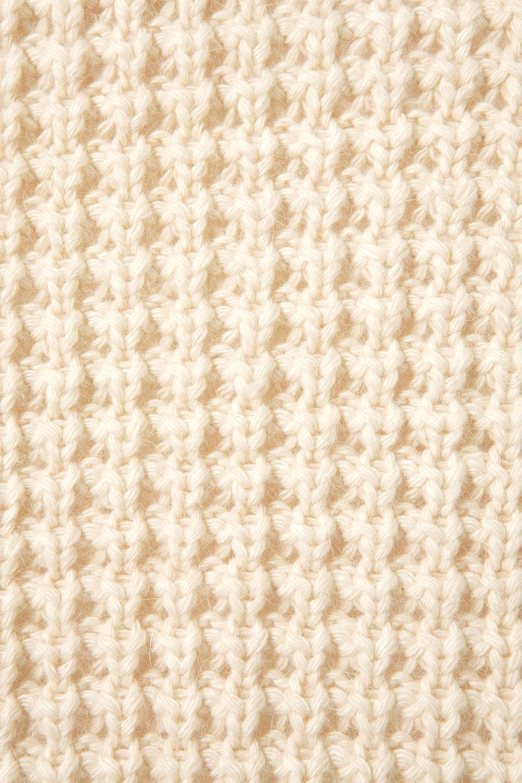 Knitting Stitches Waffle Stitch : Topshop Knitted Waffle Stitch Cardi in Natural Lyst