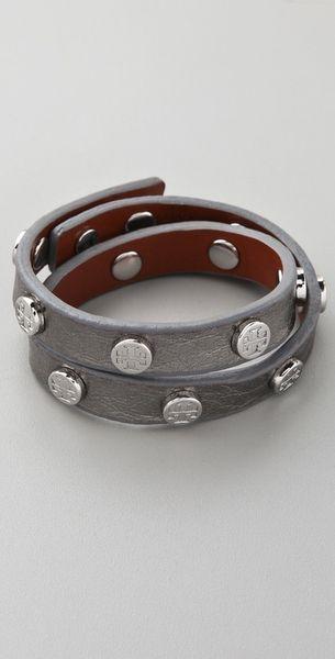 Tory Burch Double Wrap Logo Bracelet in Silver