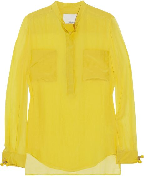 3.1 Phillip Lim Silk-chiffon Blouse in Yellow