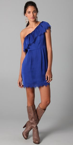 Rebecca Taylor Eyelash One Shoulder Dress in Blue (cobalt)