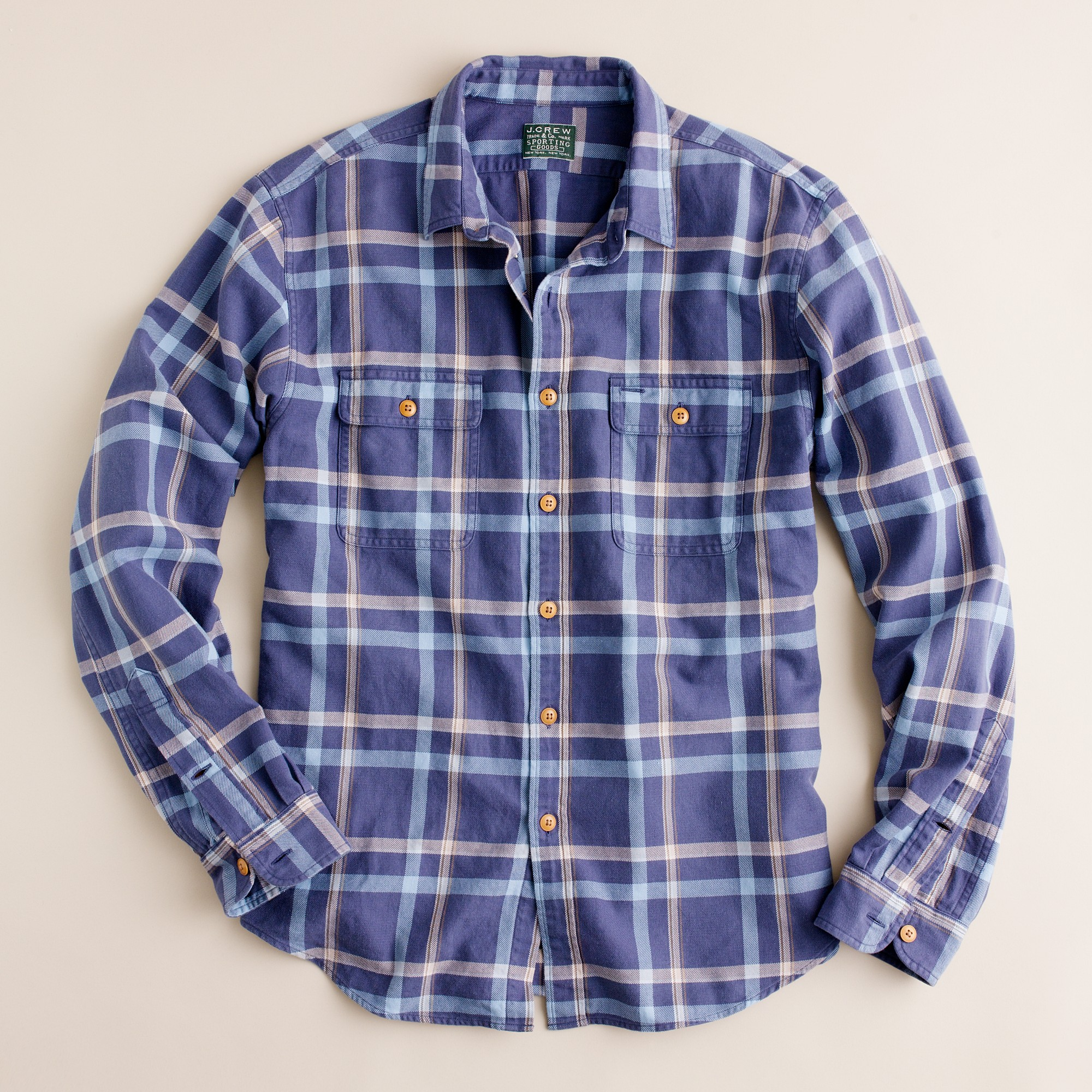 Vintage flannel shirt in cold bay plaid in blue for for Athletic cut flannel shirts