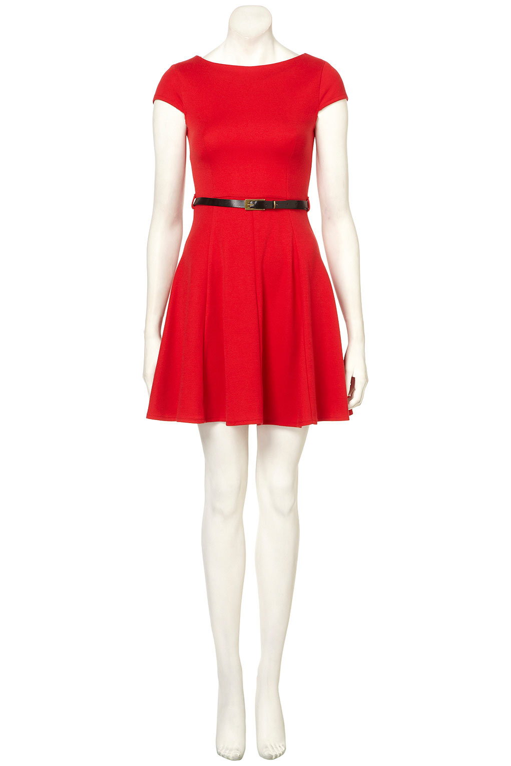 Topshop Sleeveless Skater Dress By Rare In Red Lyst