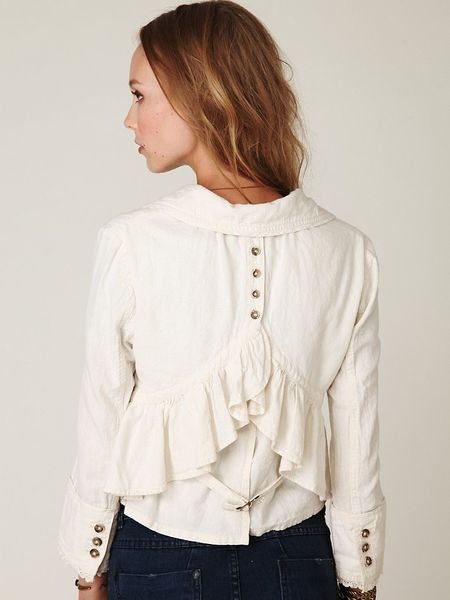 Free People Cropped Ruffle Peplum Jacket In White Bone