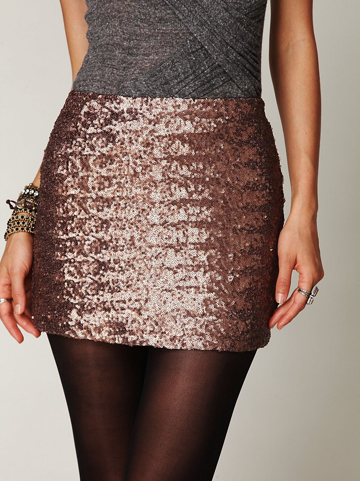 Free people Fever Sequin Bodycon Skirt in Brown | Lyst