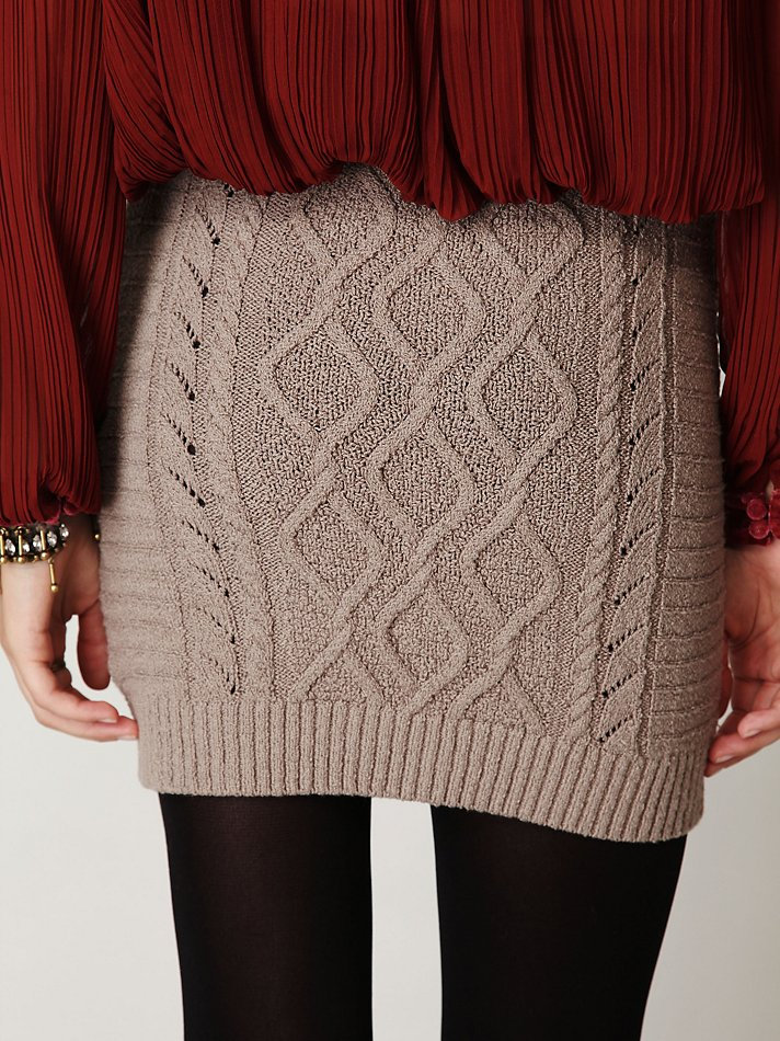 Free People Cable Knit Bodycon Sweater Skirt In Gray Lyst