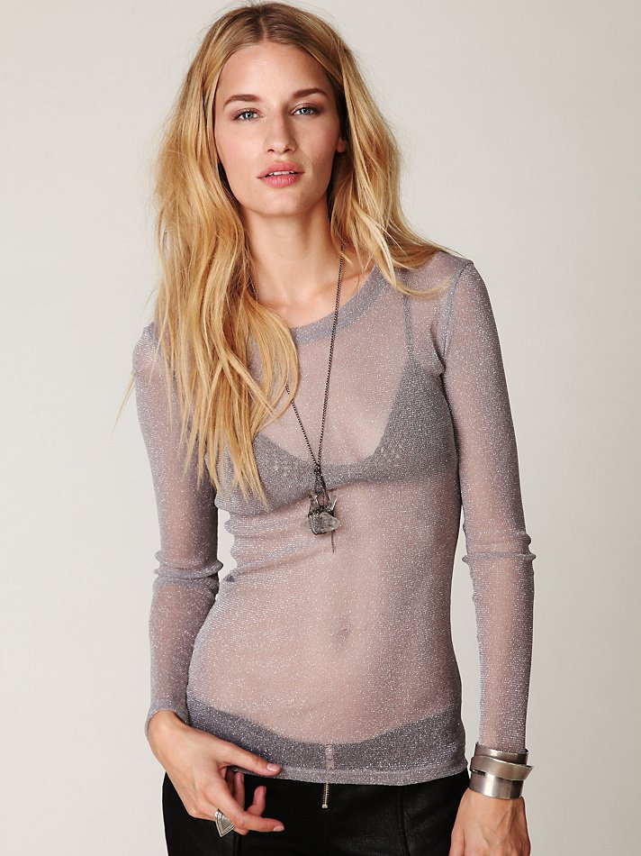 Lyst - Free People Glitter Mesh Long Sleeve Layering Top in Gray ce154c185