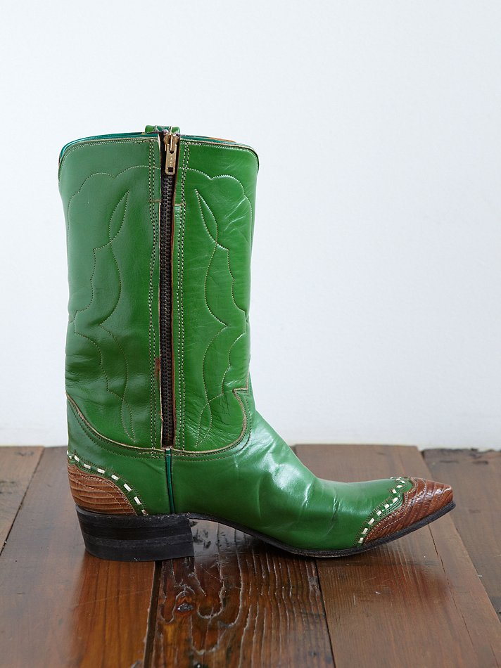 Free People Vintage Cowboy Boots In Green Lyst