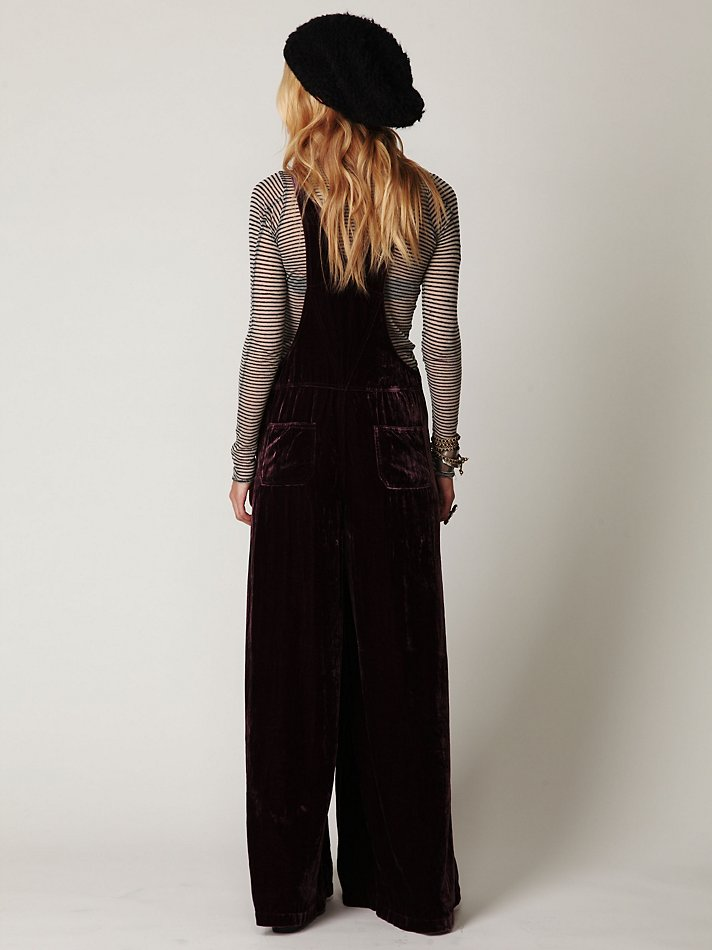 Lyst Free People Velvet Wideleg Overalls In Purple