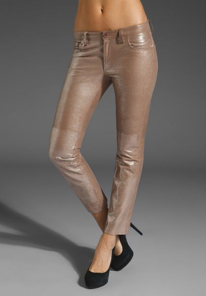 Graham & Spencer Leather Pants in Gold (metallic)