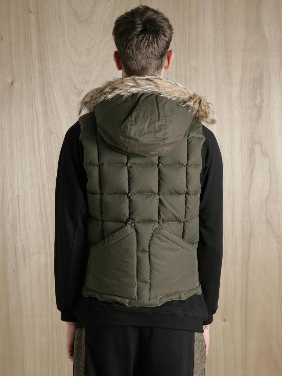 5214b6c2636c Lyst - Nigel Cabourn X Eddie Bauer Men S Goose Down And Coyote Fur Desert  Wax Vest in Green for Men