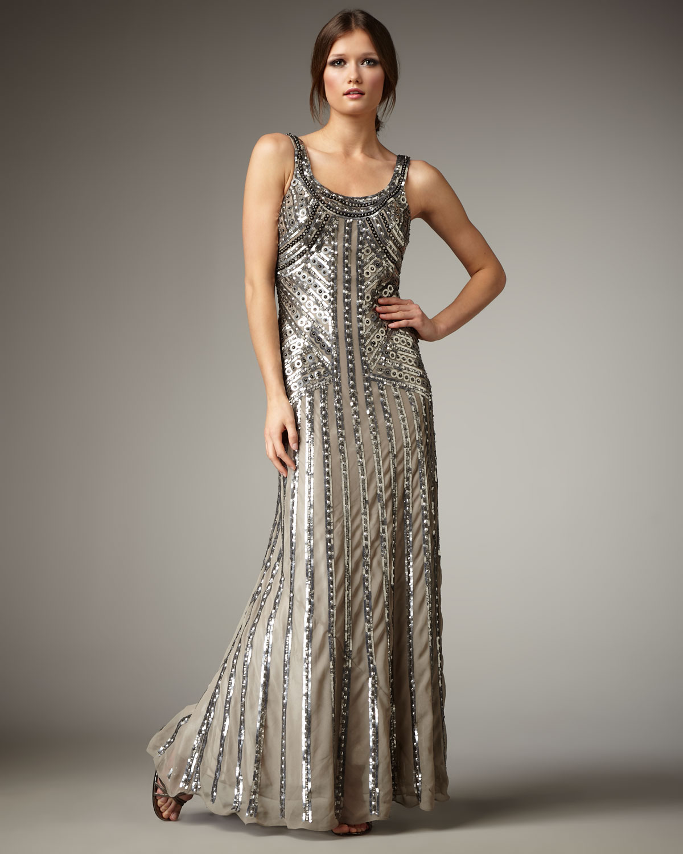 Aidan Mattox Beaded Deco Dress
