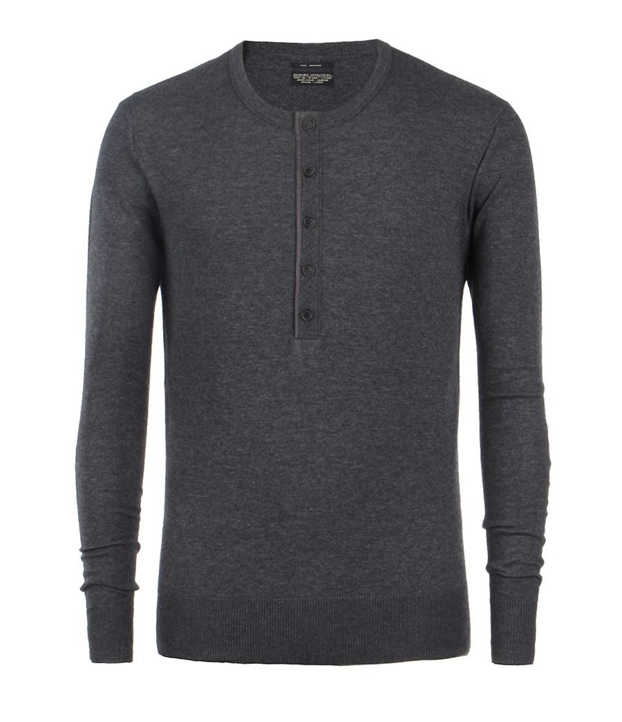 AllSaints York Grandad in Charcoal Marl (Grey) for Men
