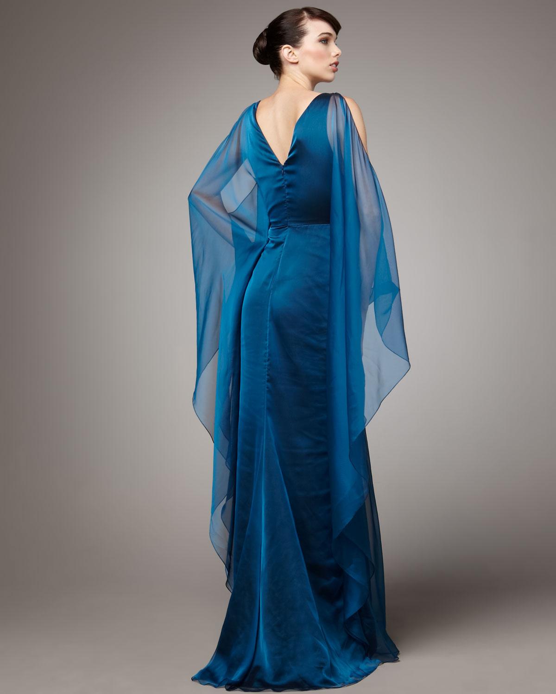 Badgley Mischka Caftan Gown In Blue Lyst