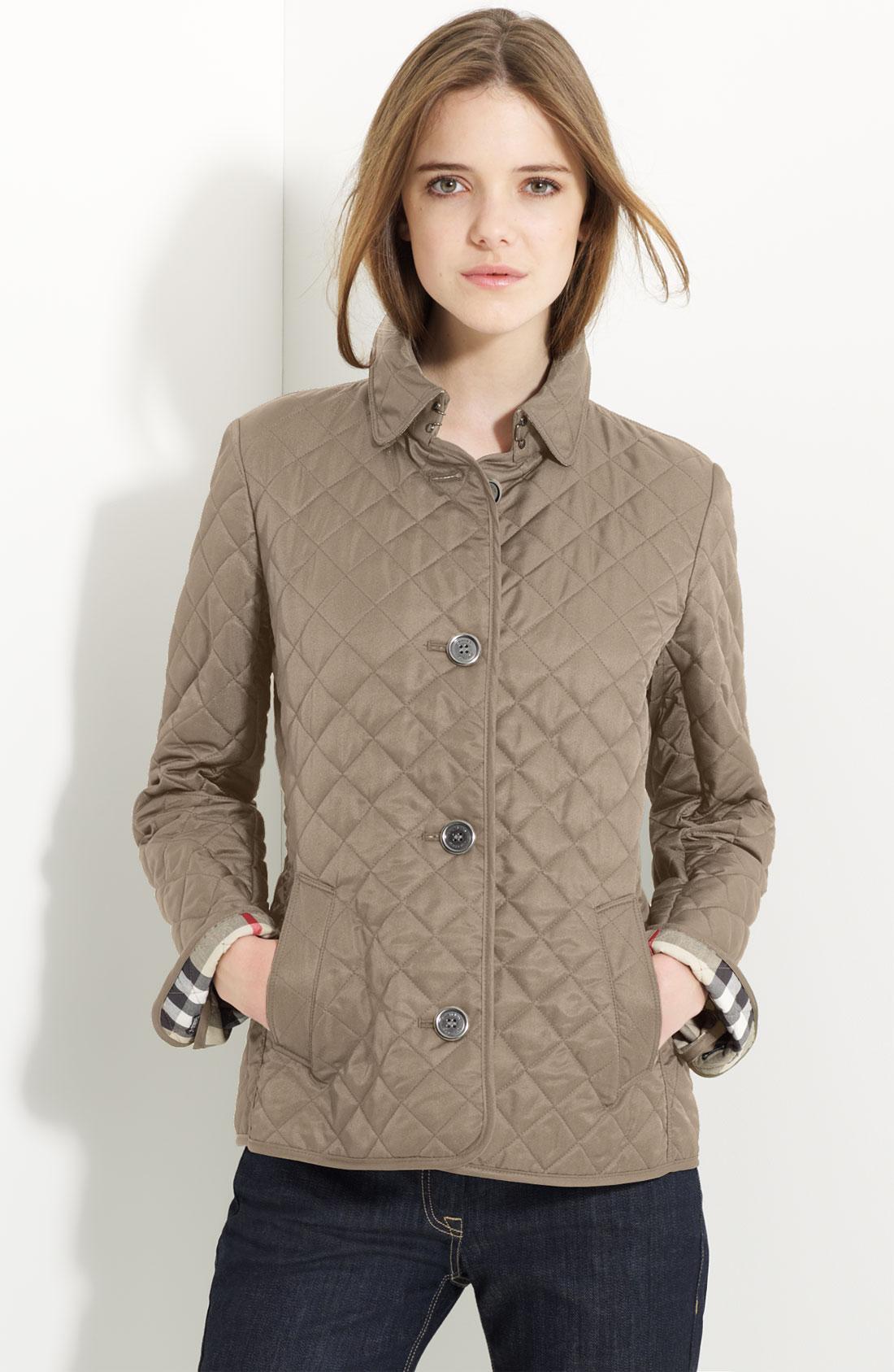 burberry brit 39 copford 39 quilted jacket in natural lyst. Black Bedroom Furniture Sets. Home Design Ideas