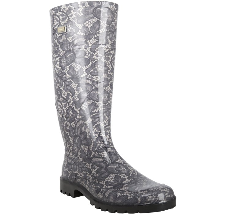Dolce & gabbana Black and Beige Lace Patterned Rubber Rain Boots ...