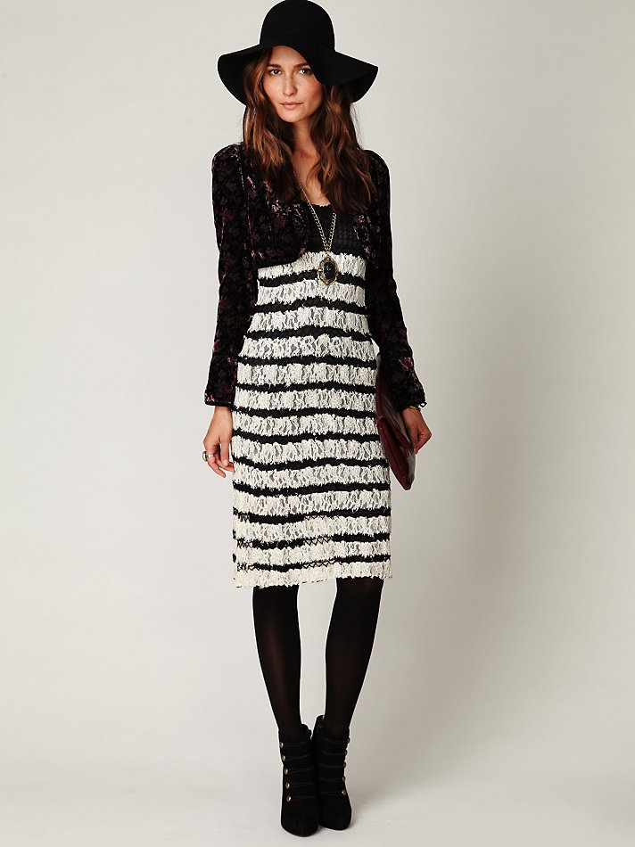 Lyst Free People Crochet And Lace Sweater Dress In Black