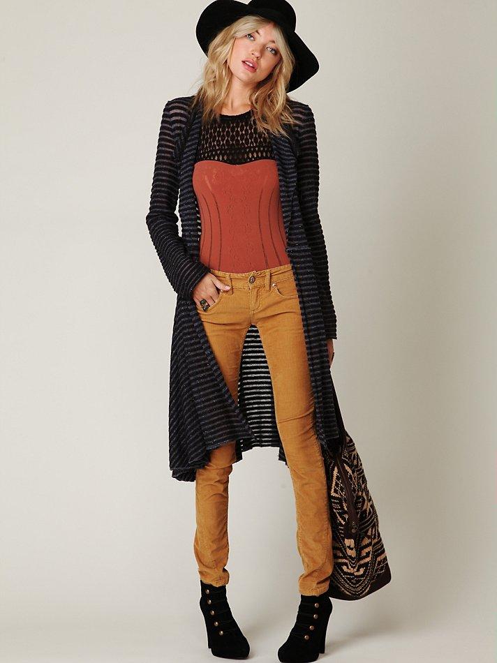 Free people Sheer Stripe Long Cardigan in Black | Lyst