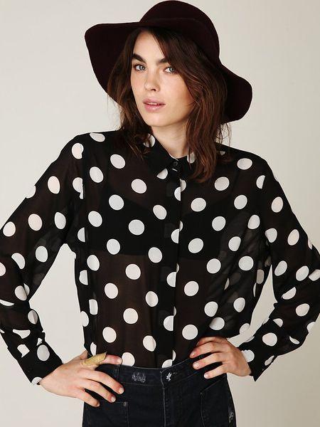 Free people polka dot blouse in black black off white for White red polka dot shirt
