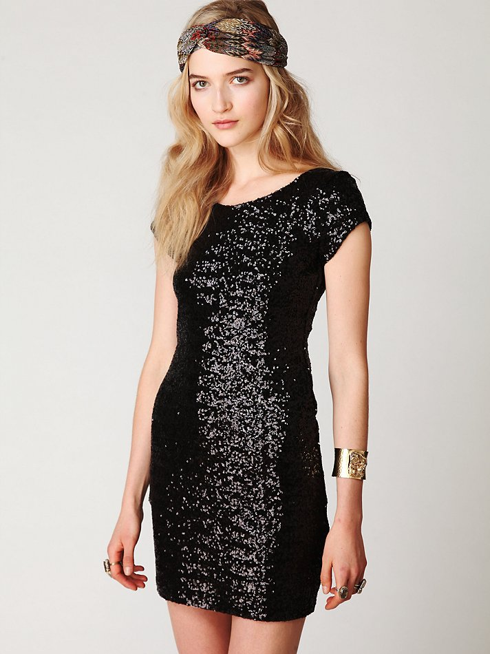 Free People Sequin Fever Bodycon Dress In Navy Black Lyst