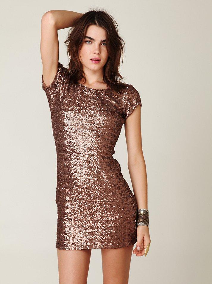 Free People Sequin Fever Bodycon Dress In Bronze Brown