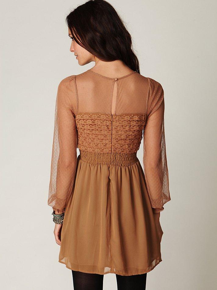 Lyst Free People Vintage Lace Long Sleeve Dress In Brown