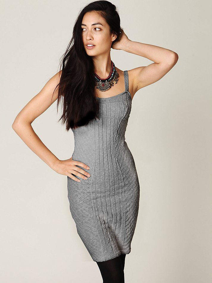 Lyst Free People Ribbed Column Sweater Dress In Gray