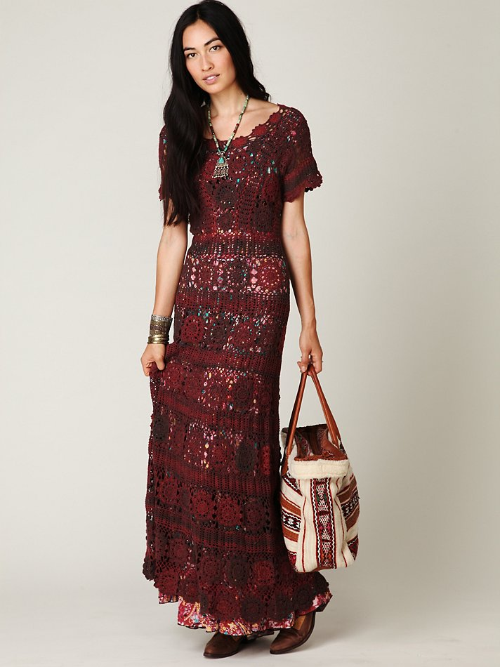 Lyst Free People Hand Crochet Maxi Dress In Brown