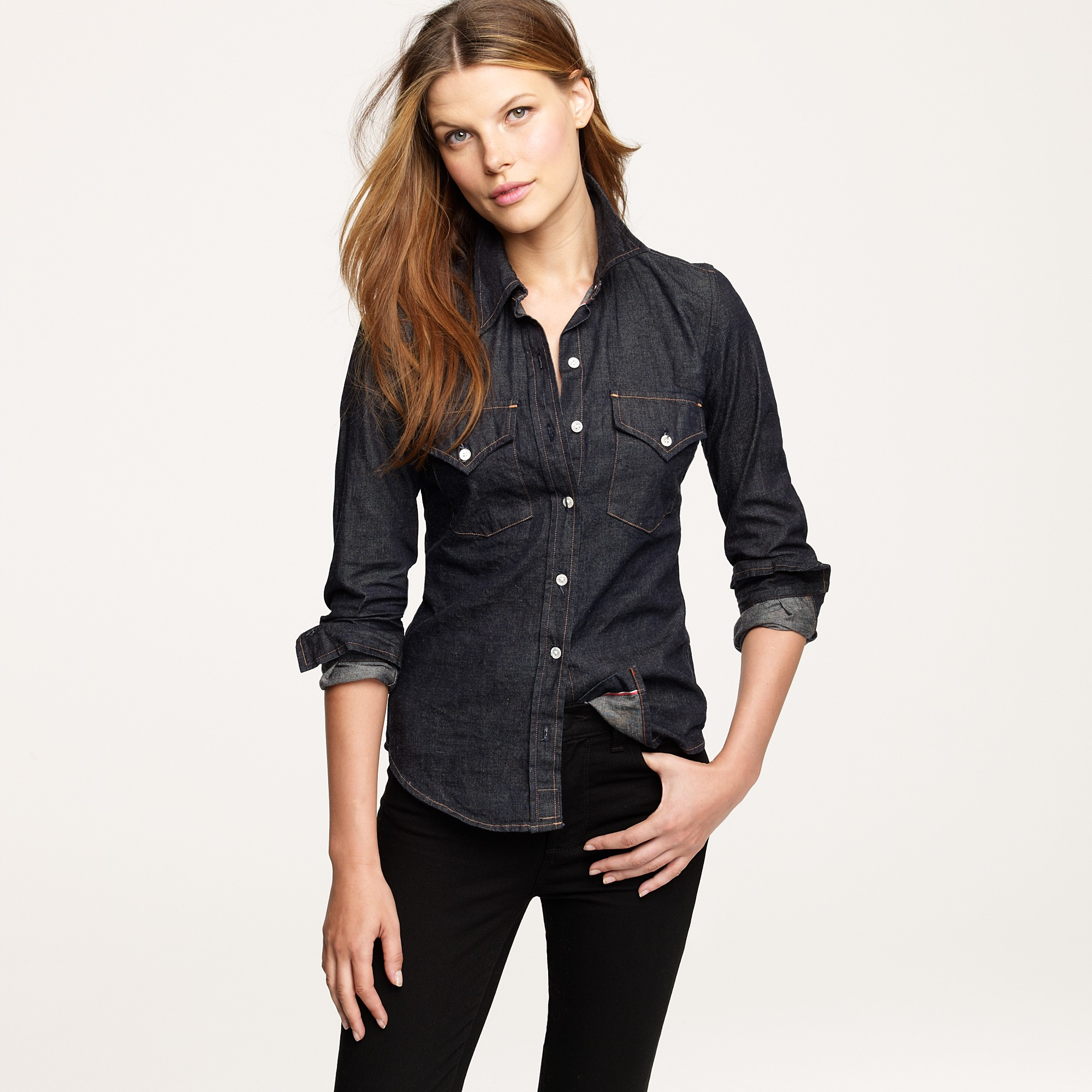 J.crew The Jean Shop® Dark Denim Shirt in Black