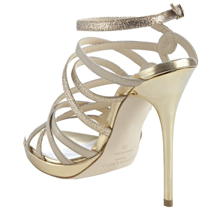 Jimmy choo Gold Glitter Leather Dart Strappy Sandals in Metallic ...