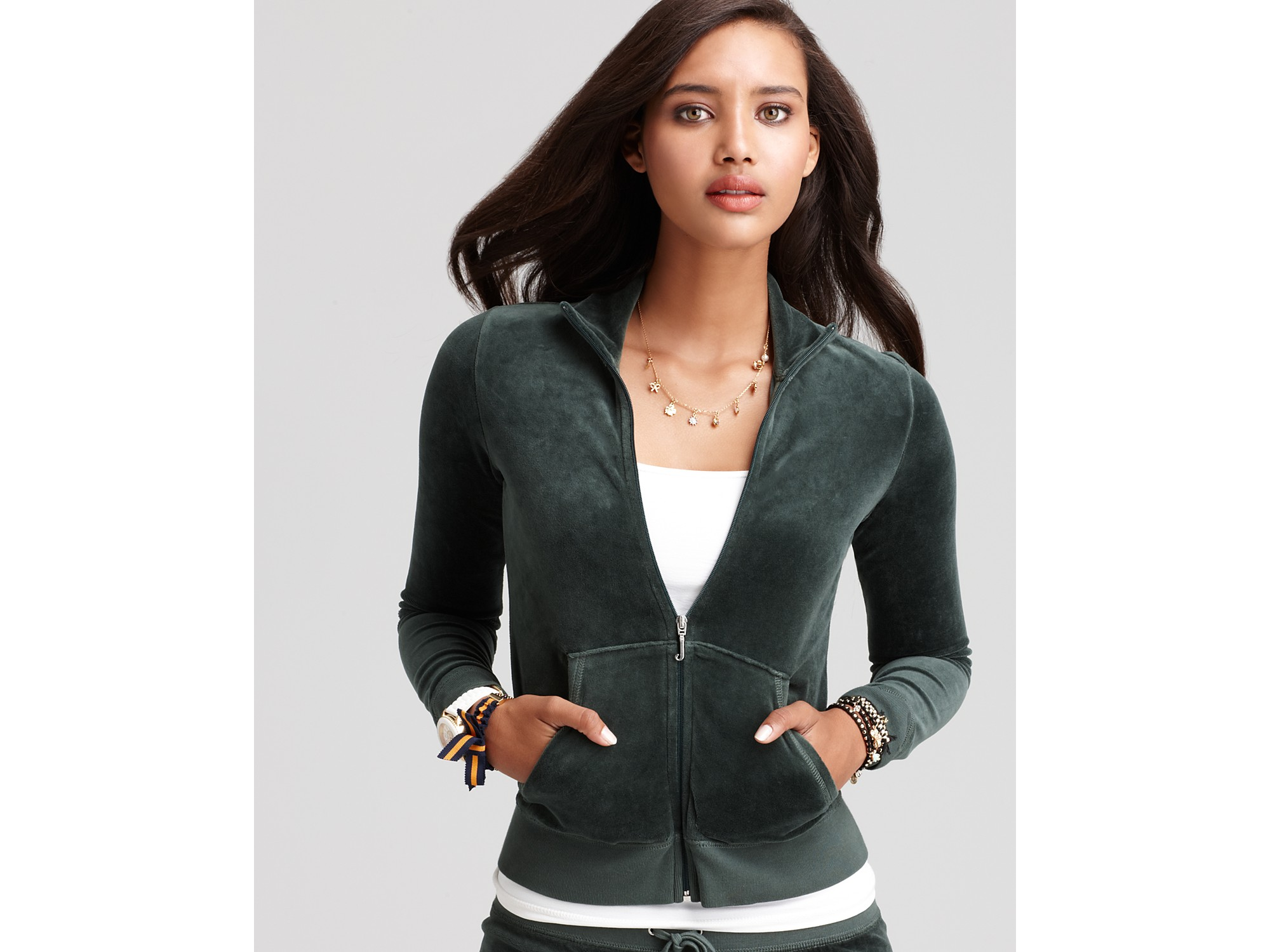 a1dfb925b754 Lyst - Juicy Couture Velour Track Jacket in Green