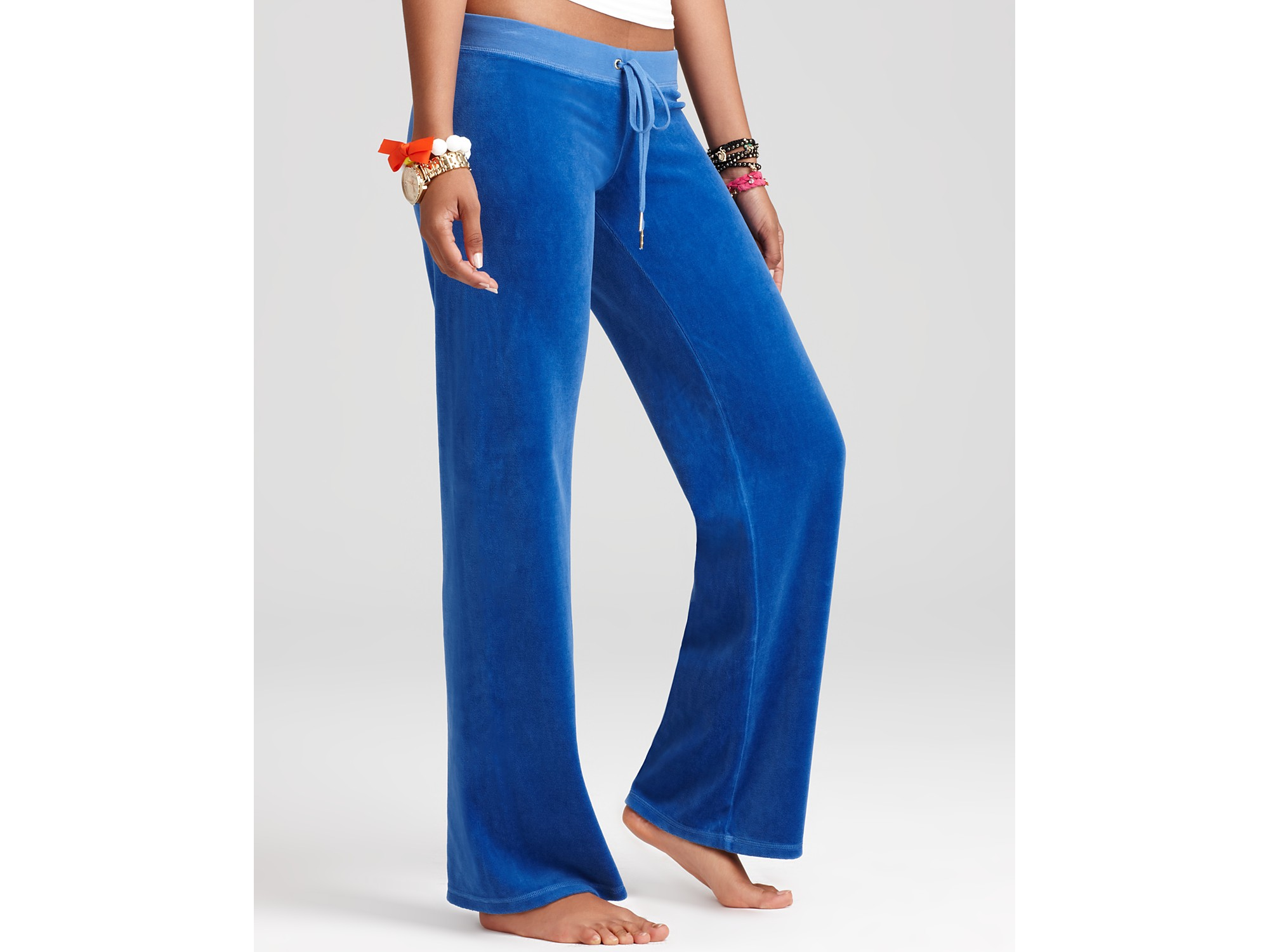 Lyst - Juicy Couture Original Leg Velour Pants with Logo in Blue fb9b6a070