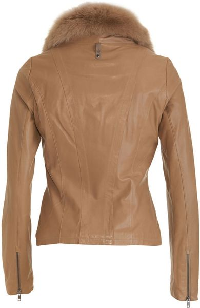 Mackage Fox Collar Leather Jacket In Brown Camel Lyst