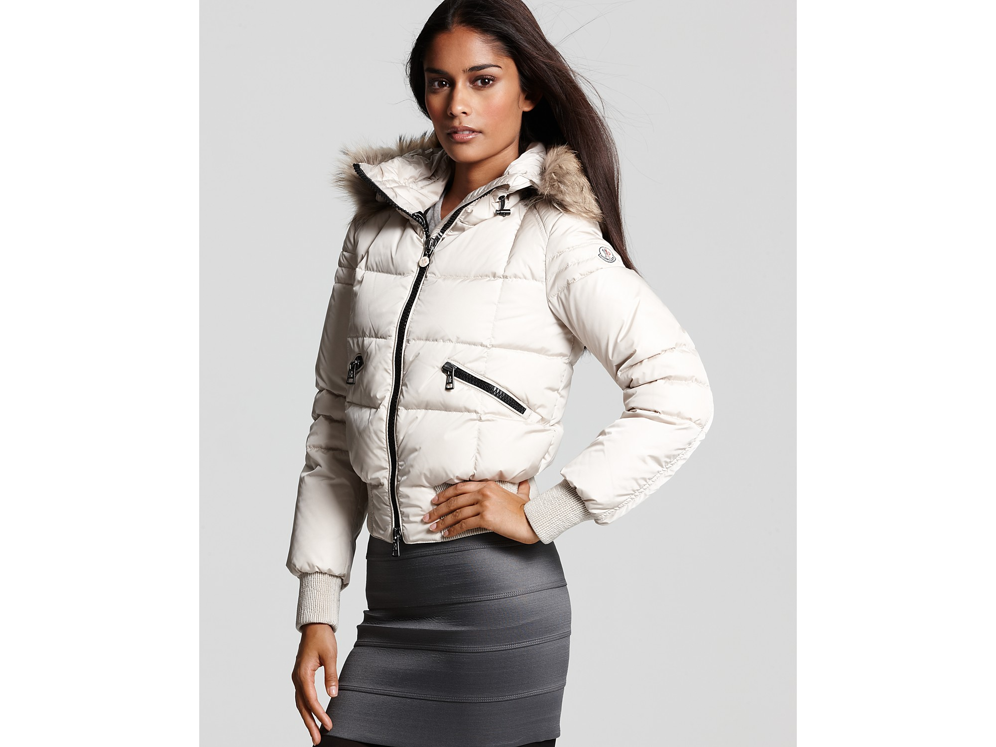 Moncler Short Bomber Jacket with Fur Collar in White | Lyst