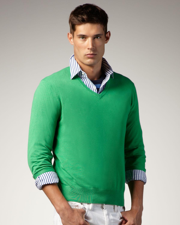 V,neck Sweater, Tiller Green