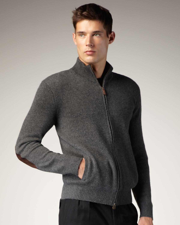 Polo ralph lauren Cashmere Zip Cardigan in Gray for Men | Lyst