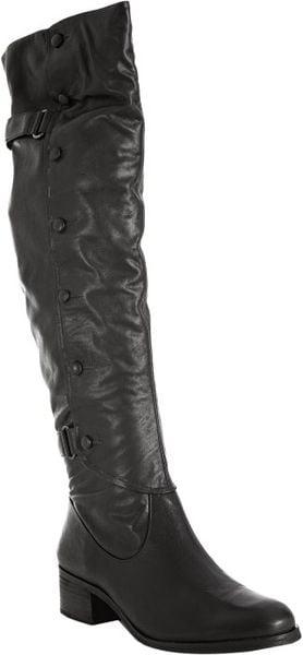 Pour La Victoire Black Leather Vesper Button Detail Tall Boots in Black