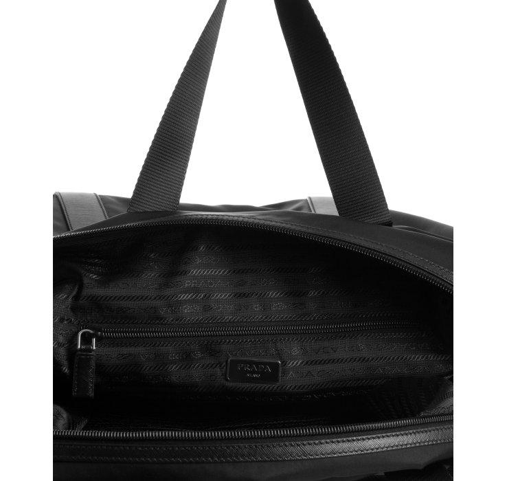 Prada Black Signature Nylon Weekend Bag in Black for Men | Lyst - prada weekender black