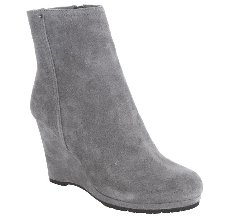 Lyst Prada Sport Gravel Suede Wedge Ankle Boots In Gray