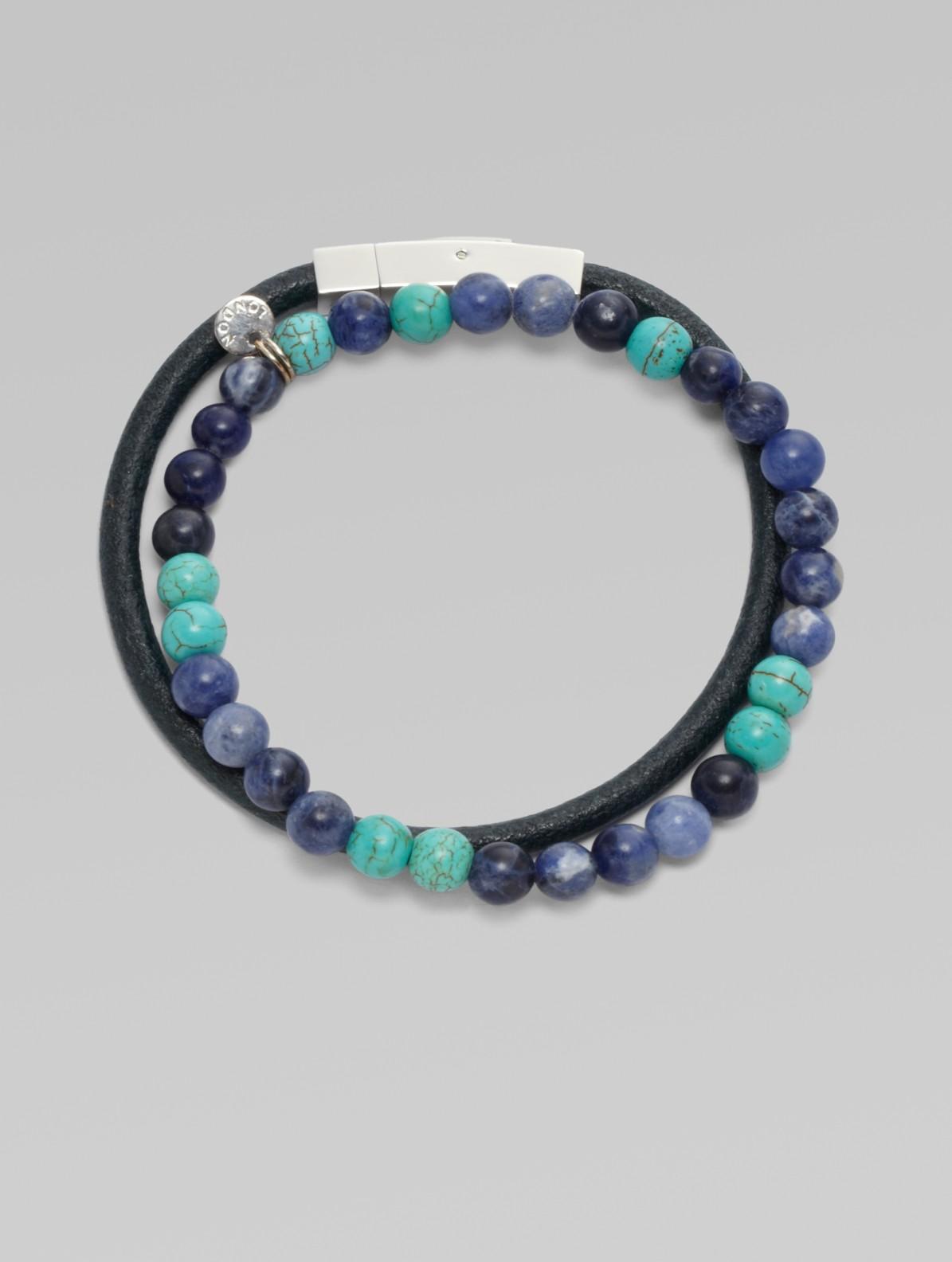 Lyst Saks Fifth Avenue Beaded Bracelet Set In Blue For Men