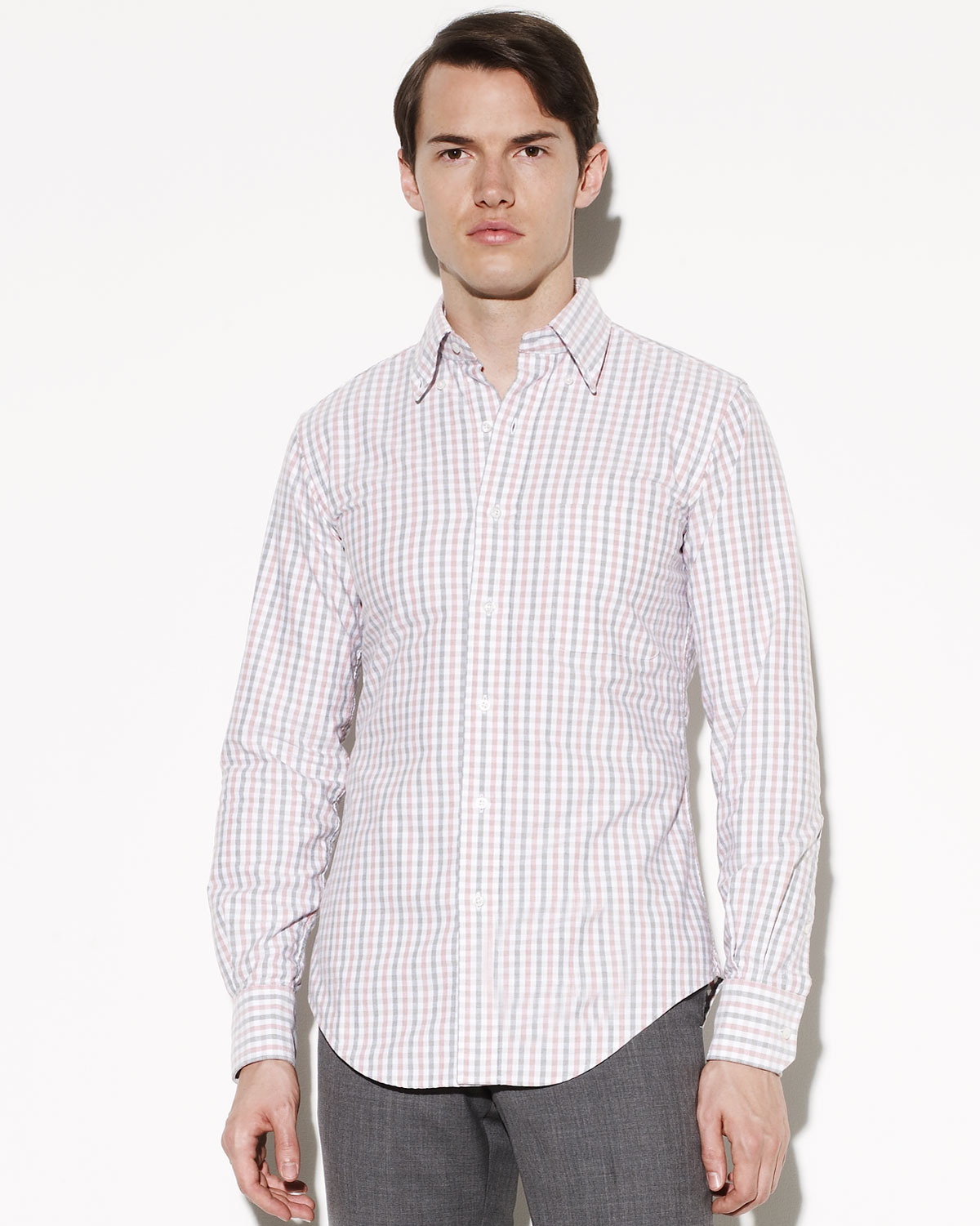 Thom browne button down gingham shirt in gray for men for Mens grey button down dress shirt