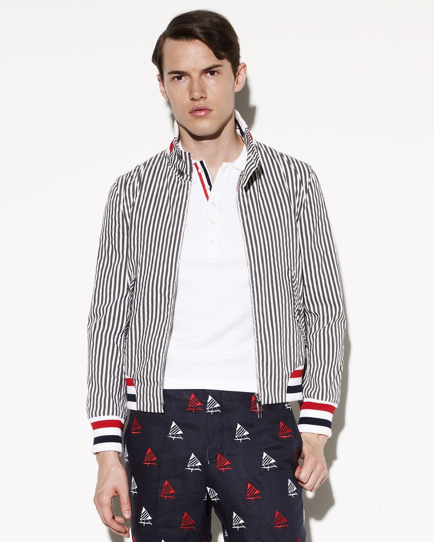 lyst thom browne striped seersucker jacket in gray for men. Black Bedroom Furniture Sets. Home Design Ideas