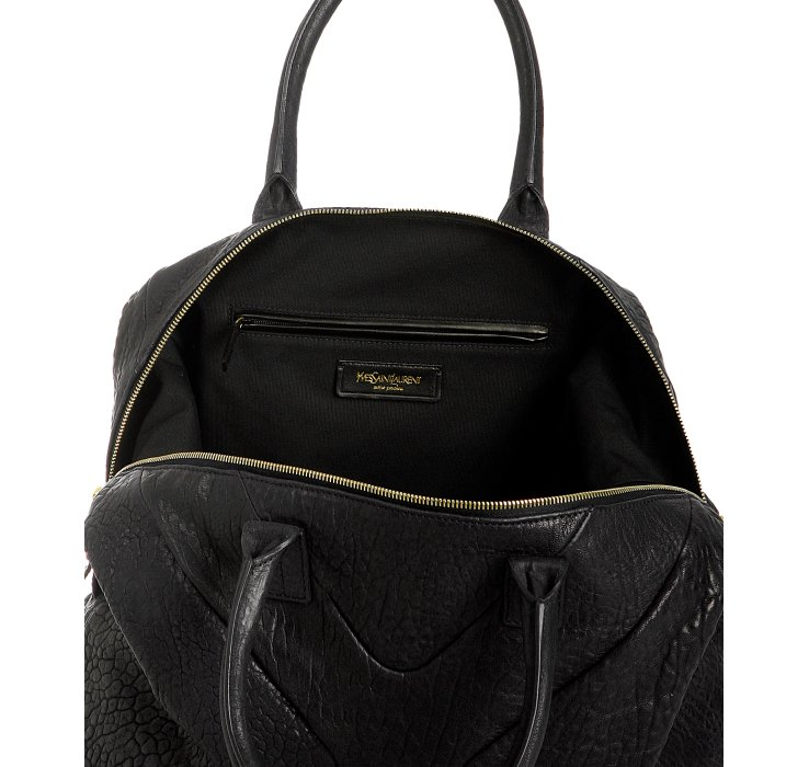 Saint laurent Black Pebbled Lambskin Medium Easy Satchel in Black ...