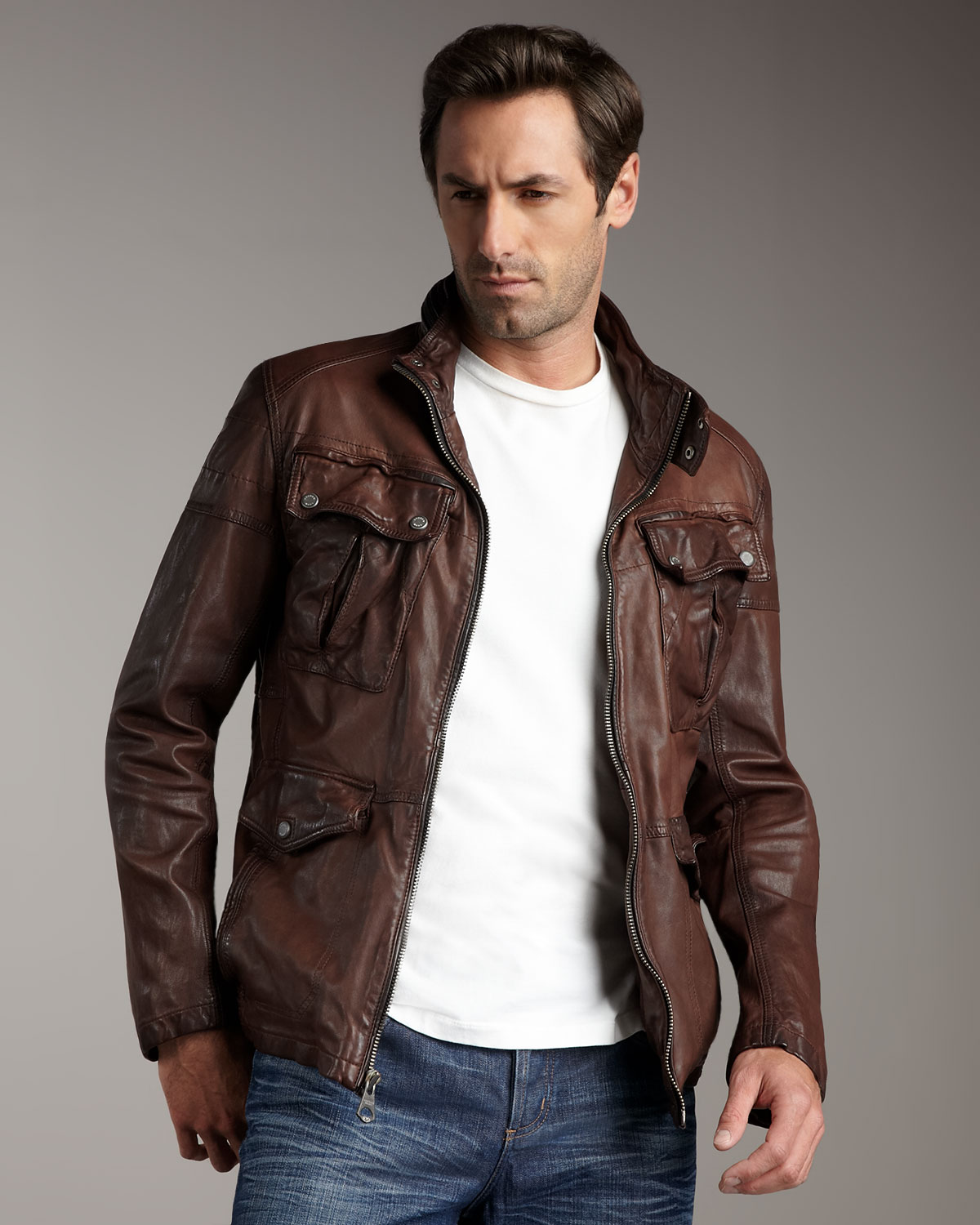 Andrew marc leather jacket men