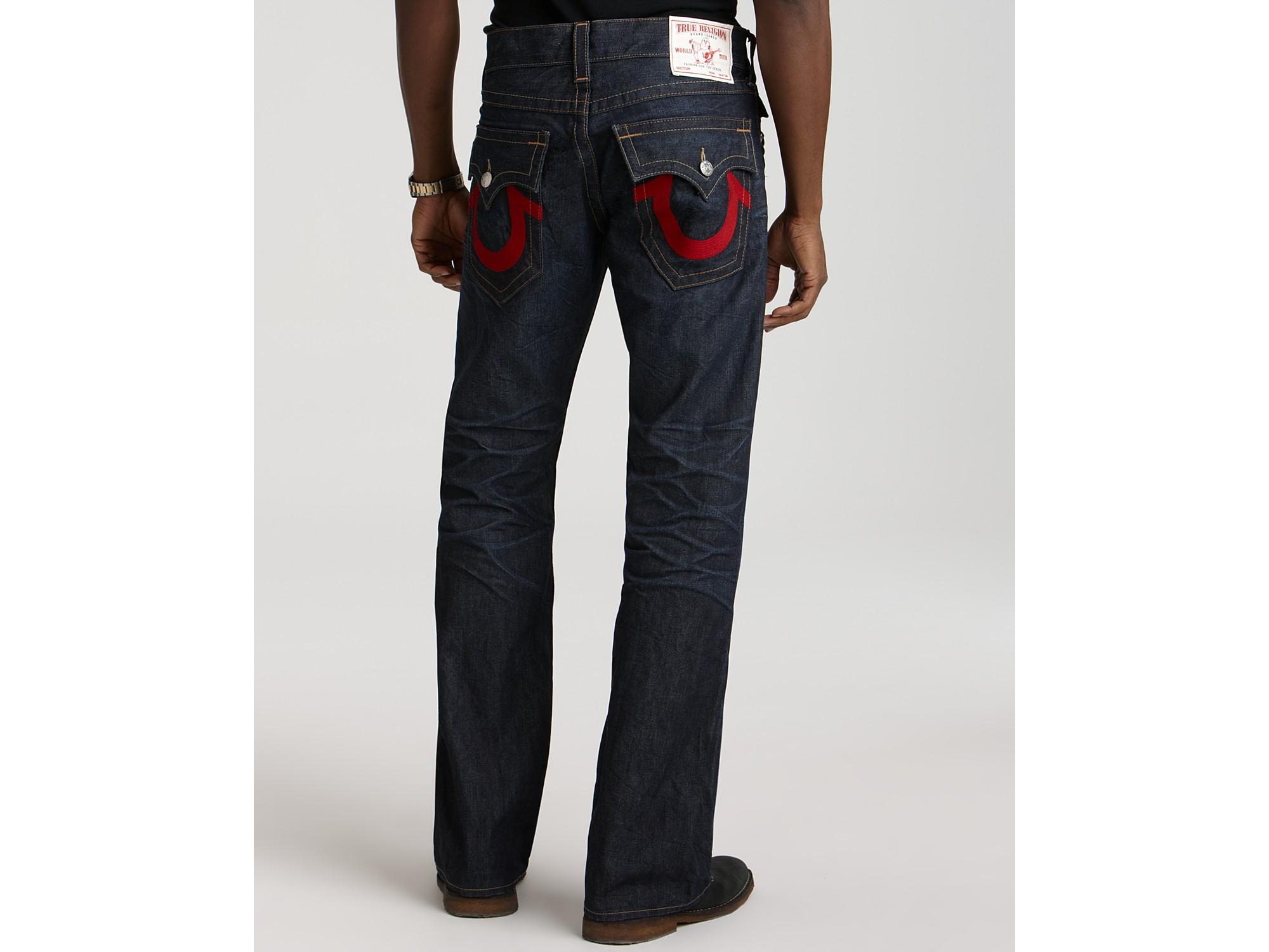 ash true religion ricky red stitch nashville jeans in blue for men lyst. Black Bedroom Furniture Sets. Home Design Ideas