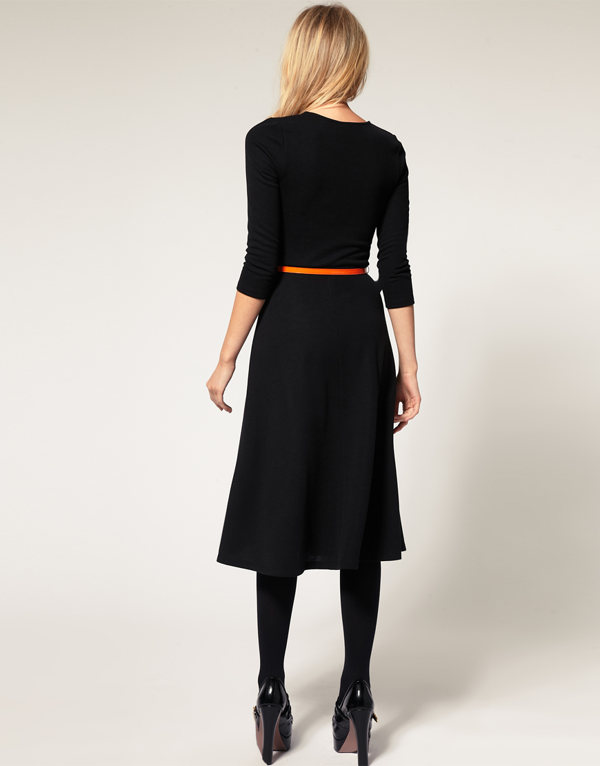 Asos Collection Asos Midi Dress With Belt In Blue Lyst