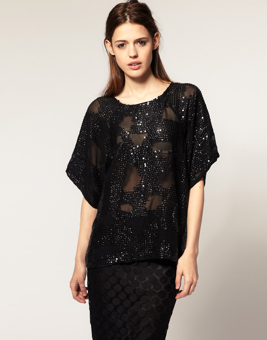 asos collection asos sequined batwing t shirt in black lyst. Black Bedroom Furniture Sets. Home Design Ideas